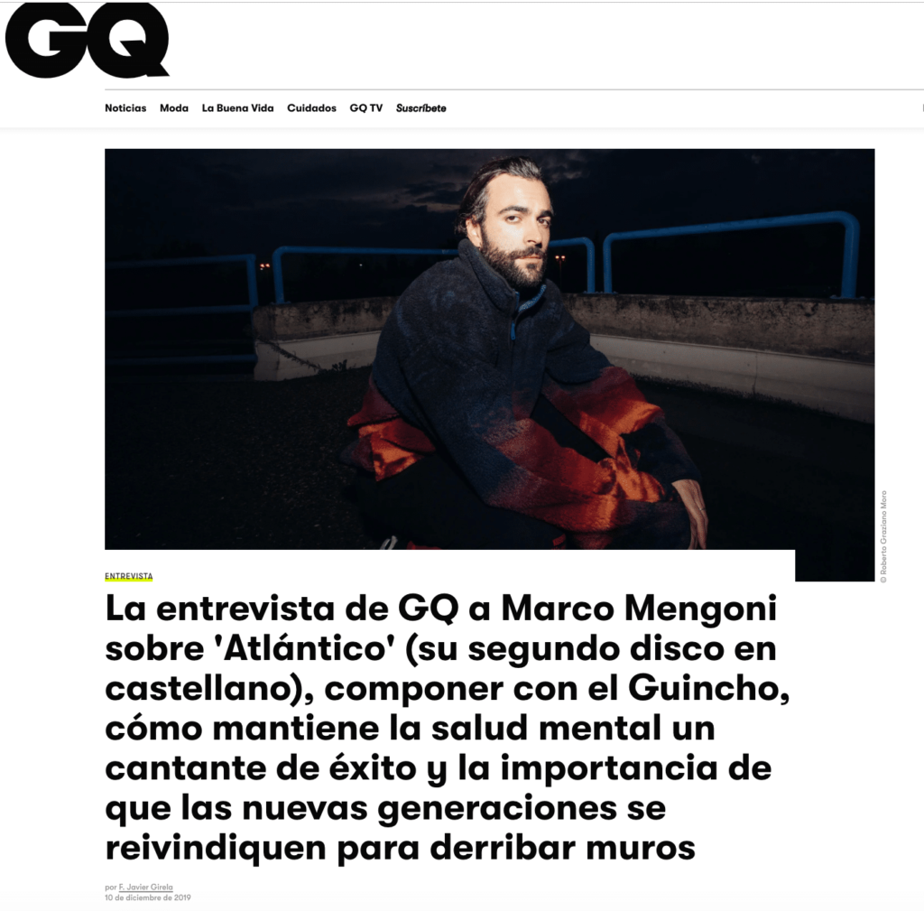 Marco Mengoni sulla digital cover di GQ Spain