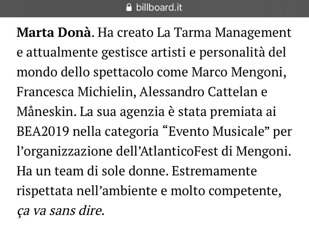 Marta Donà nominata da Billboard Italia