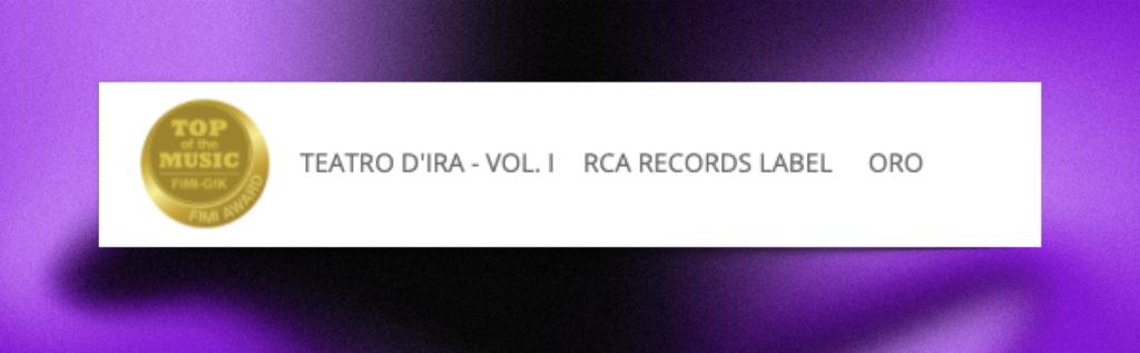 """""""Teatro d'ira – Vol. I"""" è disco d'ORO"""